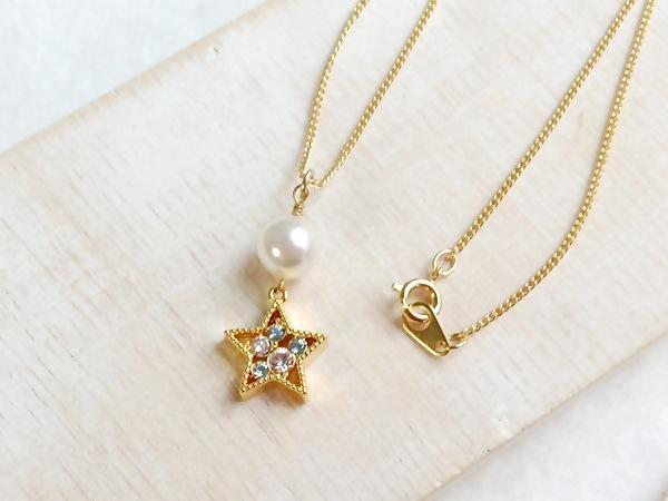 星とパールのネックレス☆ゴールド