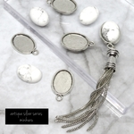 Howlite (8pcs)antique silver charm kit