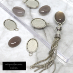 Gray agate (8pcs)antique silver charm kit