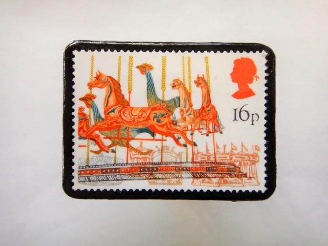 イギリス 切手ブローチ500