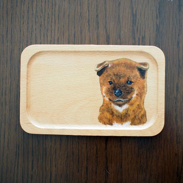 柴犬の手描きウッドトレイ