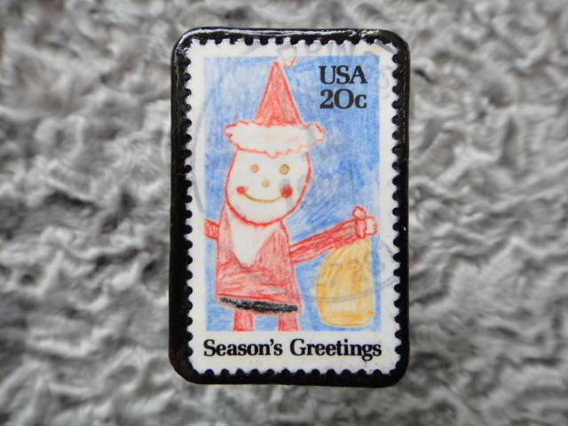 アメリカ クリスマス切手ブローチ509