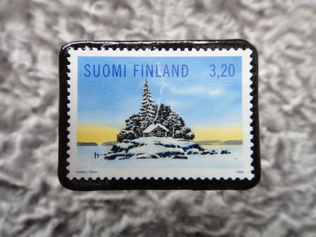 フィンランド クリスマス切手ブローチ516