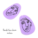 purple oval (2pcs)Female face charm