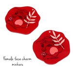 red(2pcs)Female face charm