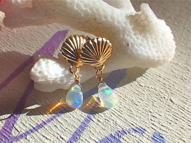 ☆再販☆ Mermaid Opal Earrings 14kgf