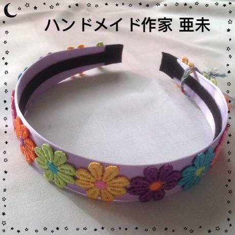 Xmasセール★26 カチューシャ(パープル・花)