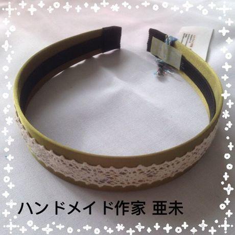 Xmasセール★27 カチューシャ(緑・生成レース)