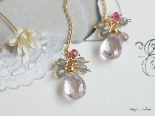 Pink amethyst×Labradorite long pierce