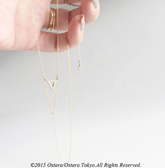 【14KGF】Long Y-Necklace,Double Triangle