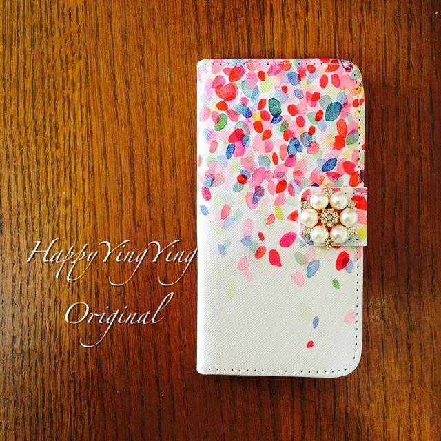 【穴2】【iPhone5C】花びら柄手帳型ケース★真珠