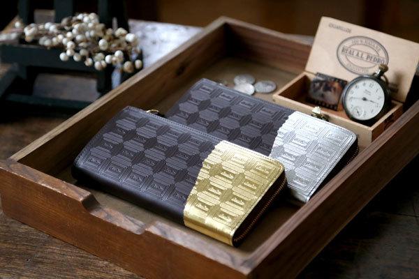 革のチョコレート長財布・ビターチョコ