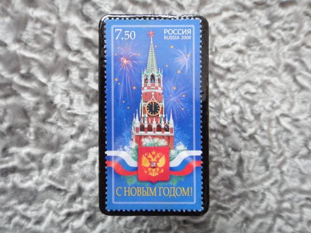 ロシア クリスマス切手ブローチ531