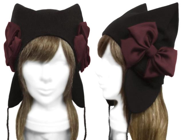 シフォンリボン飾り/耳あて付ネコ耳帽子◆コットンニット/黒