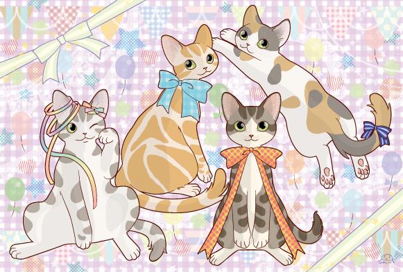 猫のポスカ『リボン』