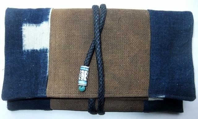 着物リメイク 久留米の絵絣と酒袋で作った和風財布 919