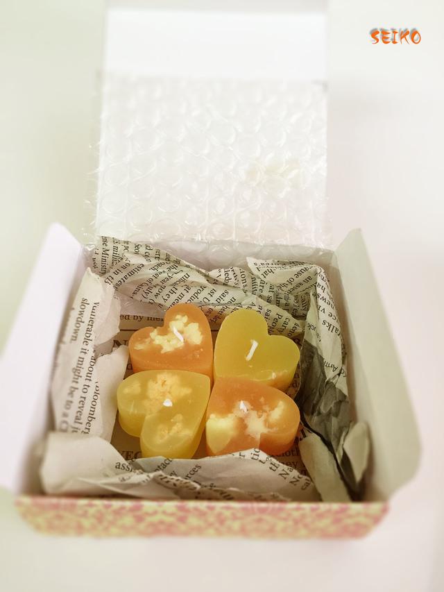幸せの?!四つ葉のクローバー オレンジハートキャンドル(4個セット)送料改定