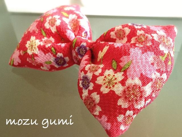 チリメンふっくらリボンバレッタ(桜・濃いピンク)
