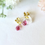 Three butterflies & Pink Tourmaline Quartz Earrings 14kgf