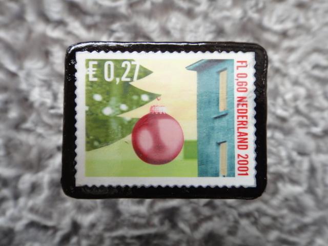 オランダ クリスマス切手ブローチ540
