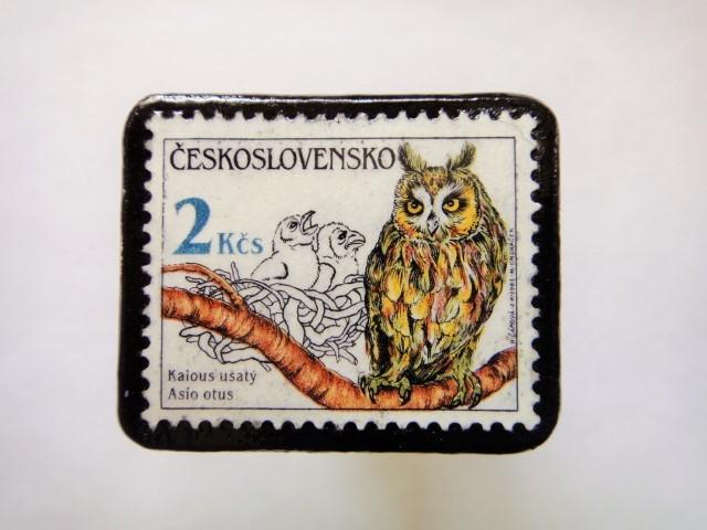チェコスロバキア フクロウ切手ブローチ545