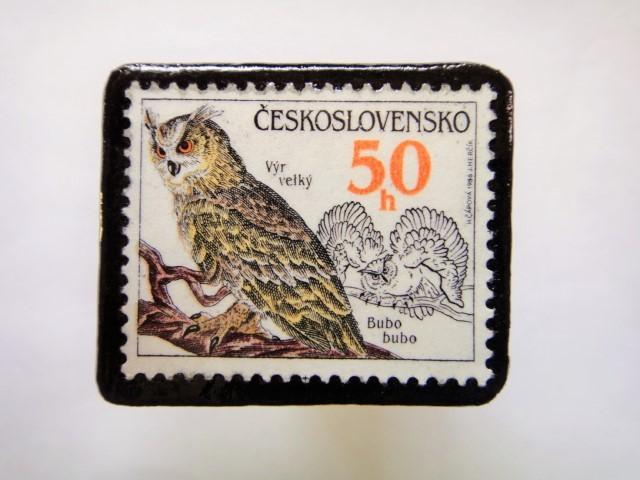 チェコスロバキア フクロウ切手ブローチ549