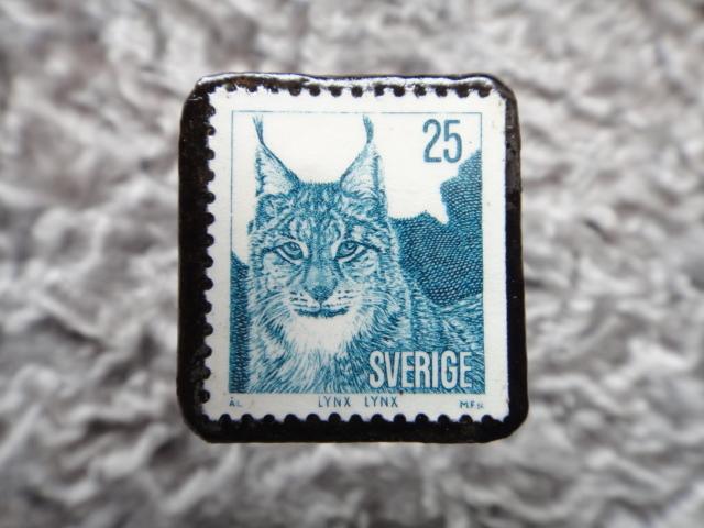 スウェーデン リンクス切手ブローチ 557