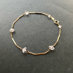 14kgf NY Herkimer diamond Station bracelet  Dream Crystal