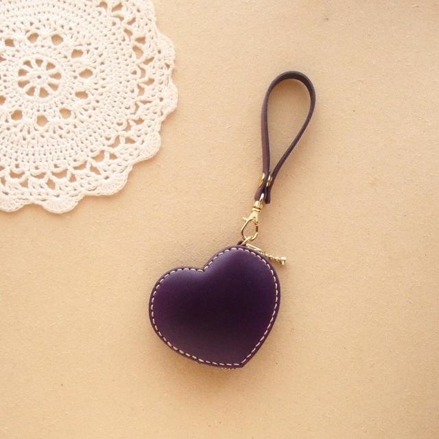 コインケース*ハート 紫レザー/ヌメ革