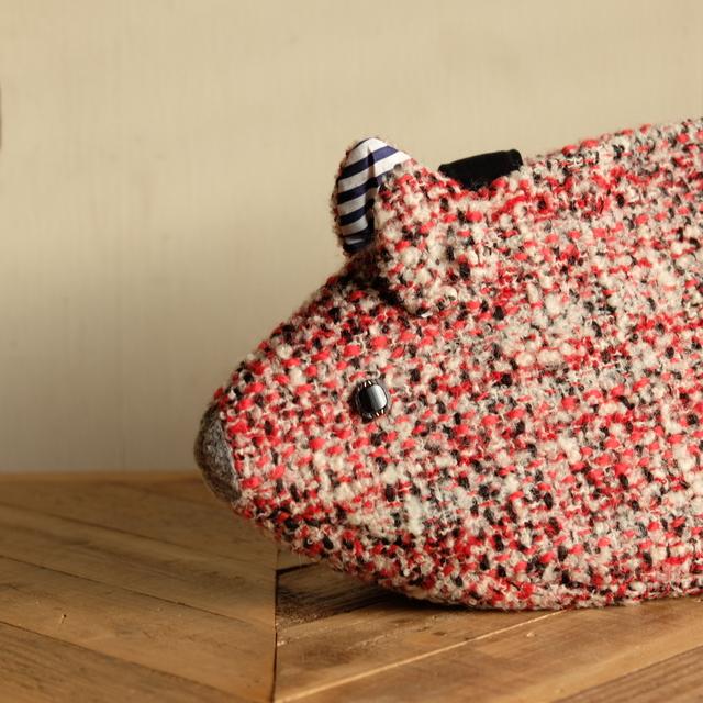 ねずみバッグ 赤黒白ツイード