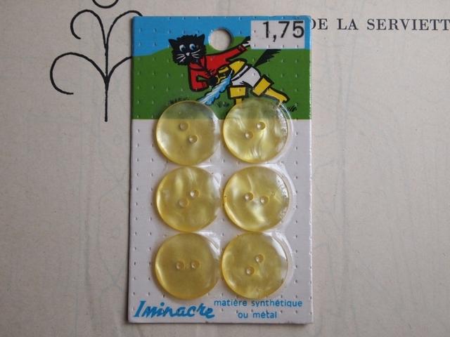 フランス Iminacre ボタン パステルイエロー