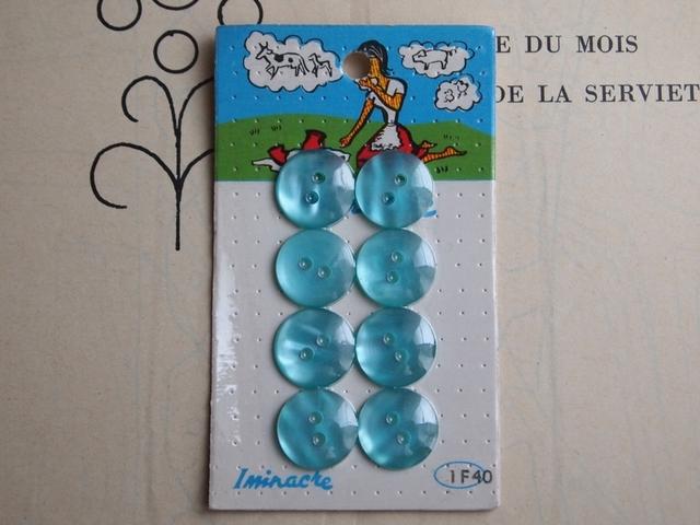 フランス Iminacre ボタン ライトブルー