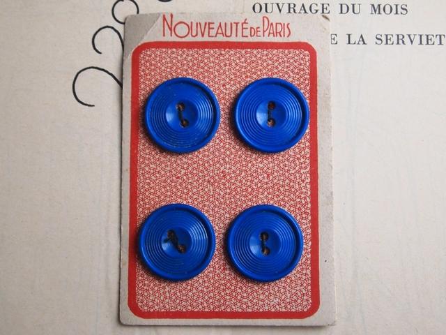 【売り切れ】フランス シート付プラスチックボタン 青