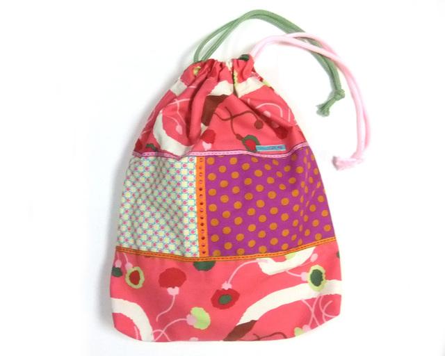 大きな巾着袋 体操袋・給食袋×かわいい和柄ピンクMIX