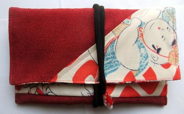 着物リメイク 縮緬の着物と羽織裏で作った和風財布 925