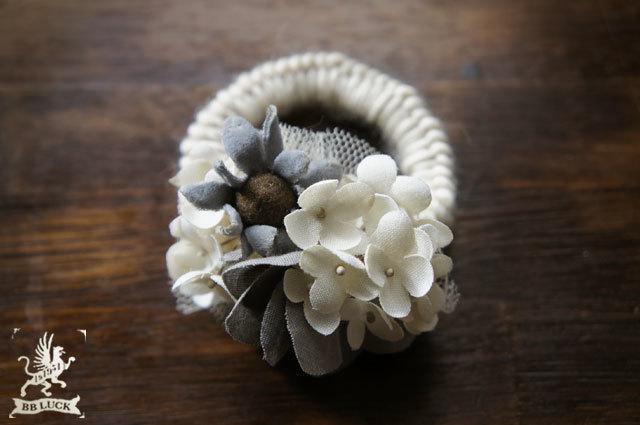 hair tie 【 紫陽花とマーガレットのウールヘアゴム 】
