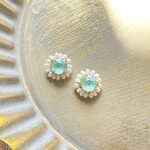 Swarovski×pearl pierce/earring《mint》