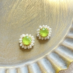 Swarovski×pearl pierce/earring《lime》