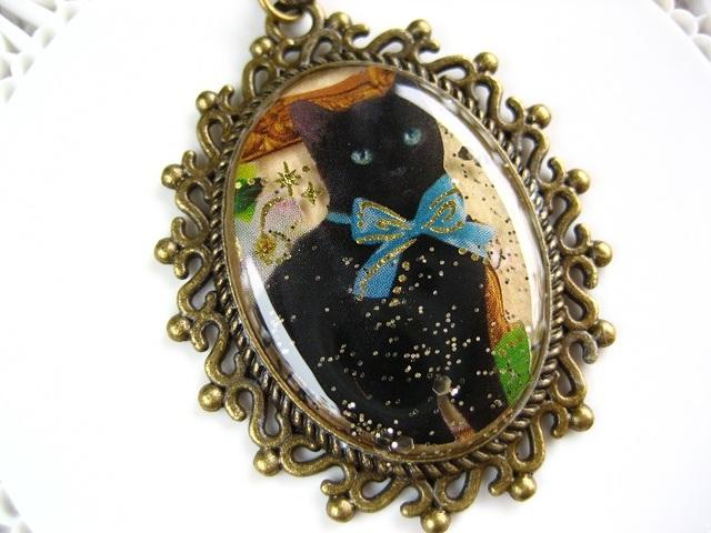 青い瞳とリボンの黒猫ロングネックレス_378 s1 14p