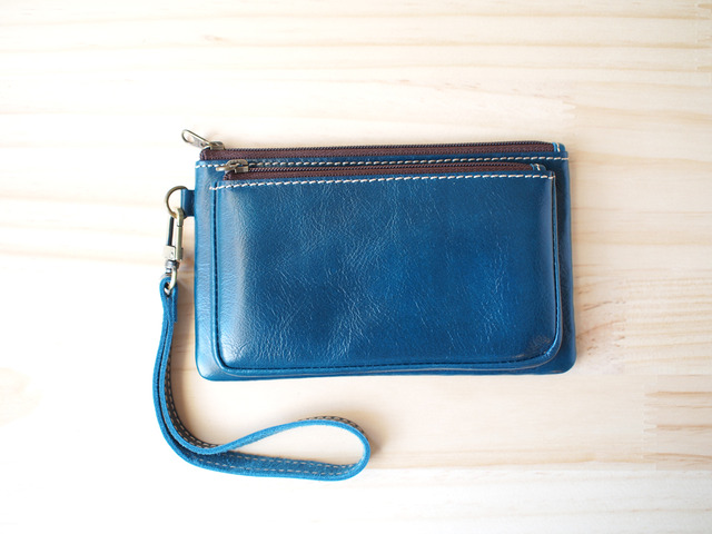 ダブルレーザーポーチ Double leather Pouch, Blue