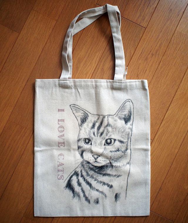 I LOVE CATS 手描きフラットトートバッグ