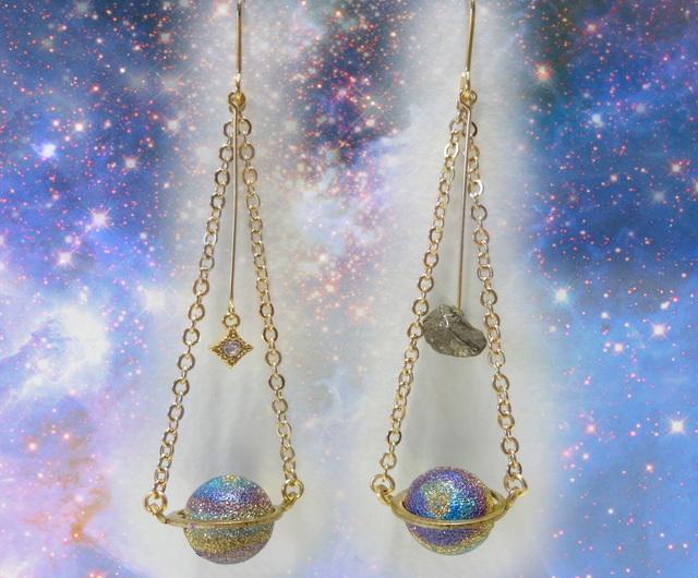 補充}14KGF)隕石と土星のピアス