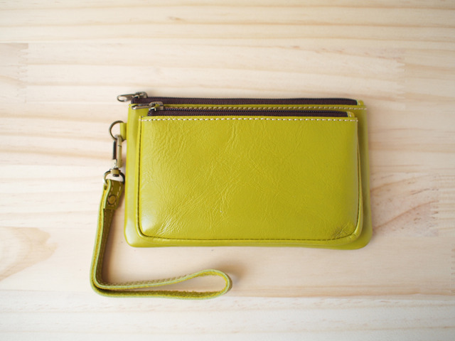 ���֥�졼�����ݡ��� Double leather Pouch, Lime Green