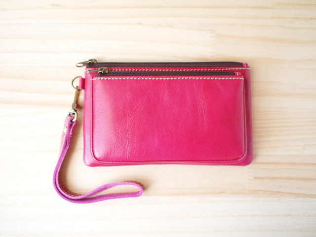ダブルレーザーポーチ Double leather Pouch, Pink