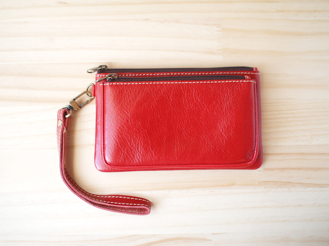 ダブルレーザーポーチ Double leather Pouch, Red