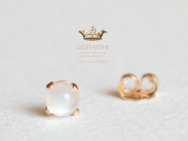 Universe/6 ムーンストーン天然石スタッズピアス