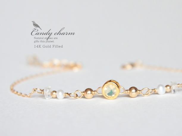 Candy charm Bracelet 14KGF Opal