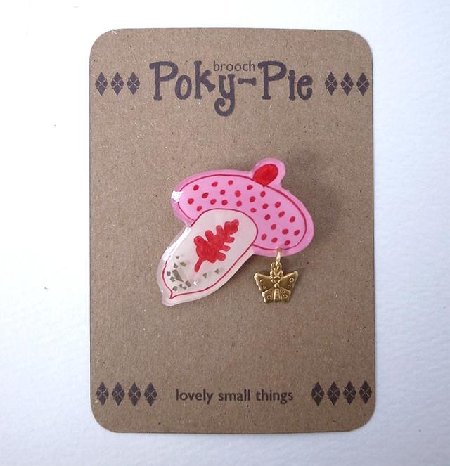 どんぐりの葉っぱ ピンク帽 ブローチ