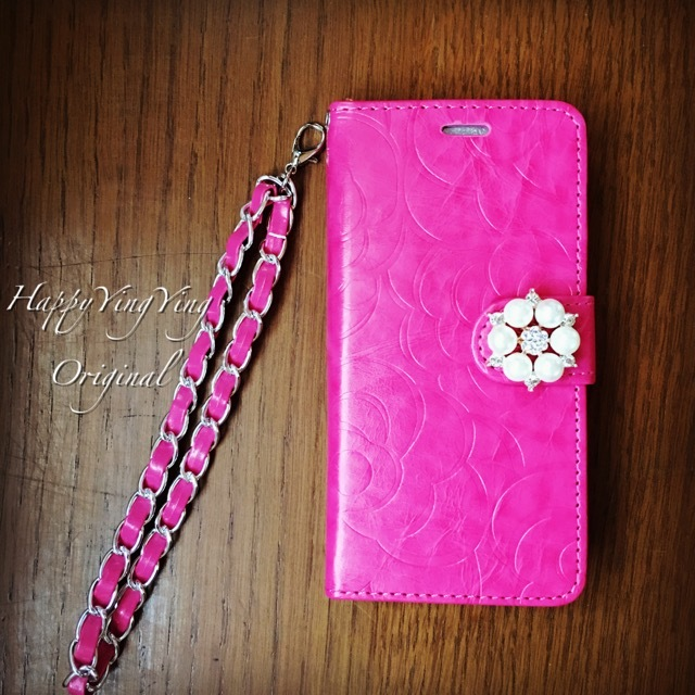 【iphone6/6S】花模様ピンク手帳型★チェーン付き