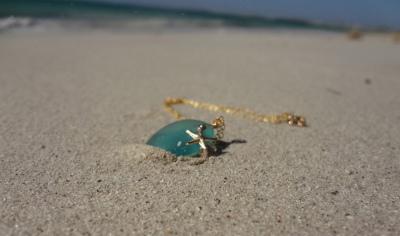 Mermaid tears with starfish-- blue sea glass